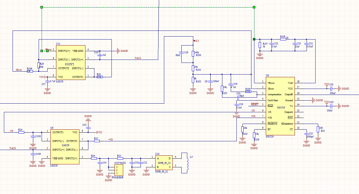 这个电路其实没有什么难的,关键是看SG3526数据手册。1,2脚是误差放大,而6,7脚是限流控制(比较器反相输入6,与正相输入7)。 从电路看误差输入有U11处理,而限流控制有U9处理,两个都是用了LM358,至于是这个LM358是比较还是放大,或是跟随输入,你自己查运放实例吧,很简单的。 这些问题其实自己翻资料能解决的。关于SG3526中文资料百度搜索一下《基于SG3526的开关电源控制电路分析与改进》百度文库有。 其实你也可以去参考下S .