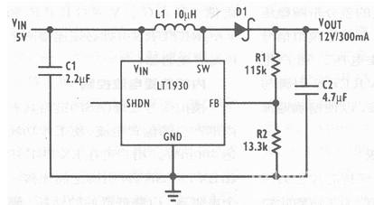 5v转12v升压变换器原理电路图