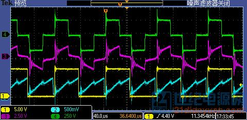功率大约20kw,频率12k,移相全桥控制,为什么电流波形在电压为零时刻