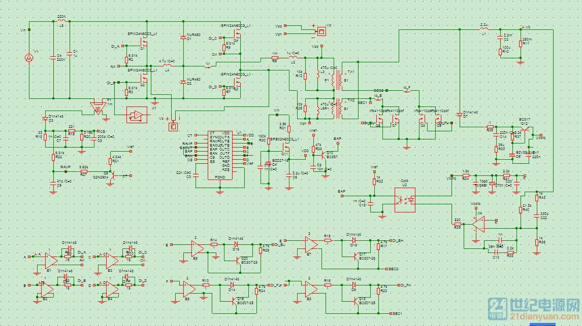 大神高手们帮看看,功率级电路为移项全桥双变压器,同步整流输出振荡