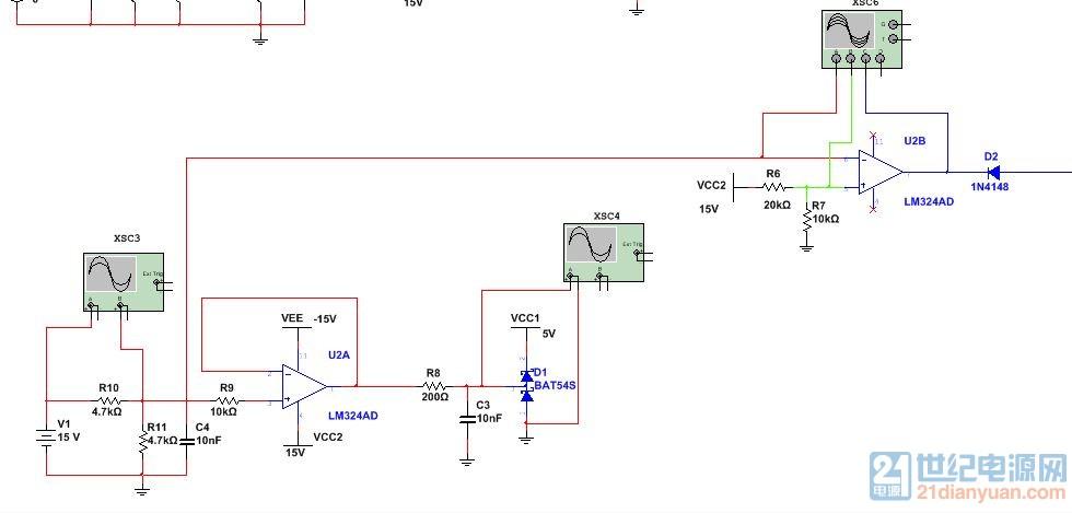 先说直流电流保护吧,传感器输出的电压信号经过分压后送给运放的负