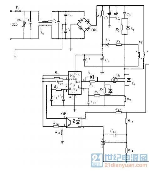 各位大神,uc3845an的误差放大器的反馈电路参数如何选取?
