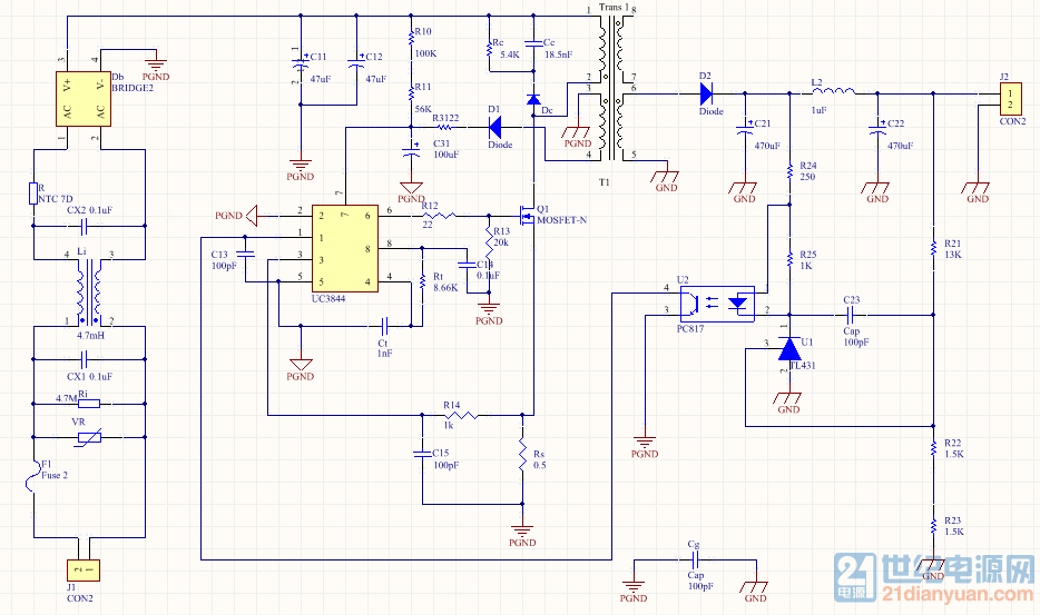 uc3844设计反激变换器,这样接外围电路对吗?