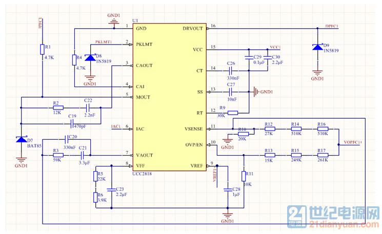 续流二极管,电感,电容等接入电路,单相接入90v电源,空载情况下pfc输出