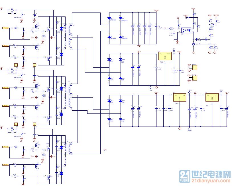 说明:变压器1与变压器2的第二个绕组分别为风扇和后级的控制电路供电。 请教问题:三个变压器的感量怎么计算呢,母线电压400V,输入48V,开关频率85kHz,B=0.16 我设计的第一个变压器匝数分别为:7,7,20,2(12V输出绕组);第二个变压器匝数分别为:7,7,20,4(24V输出绕组)。第三个变压器匝数:7,7,20.