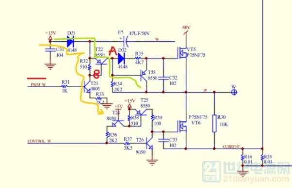 图纸我看不清楚细节, 直流三相电机由3组驱动臂组成, 以120相位检测得到,分别给定2组驱动。轮流机制导通,。基本原理即使这样。 图纸中每一组桥臂都有2个信号加入,上臂信号是PWM调宽调节电机转速。下臂固定给定导通电平信号使下臂MOS管饱和导通,上PWM臂通,下臂关闭, A B C三组, 如A上与 B下, B上与C下 C上与A下, 这样轮流驱动,电机转1周360,分120依次对换,基本原理就是这样。可以用DSP,单片机,以及专门芯片设计。 小功率可以用MOS管,大功率用IGBT, 频率高频,低频都可以。