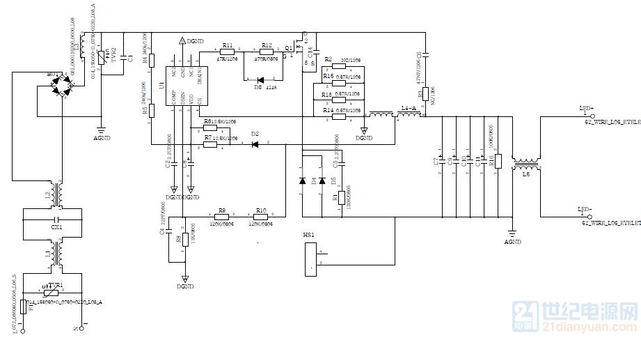 70W LED 驱动电源设计