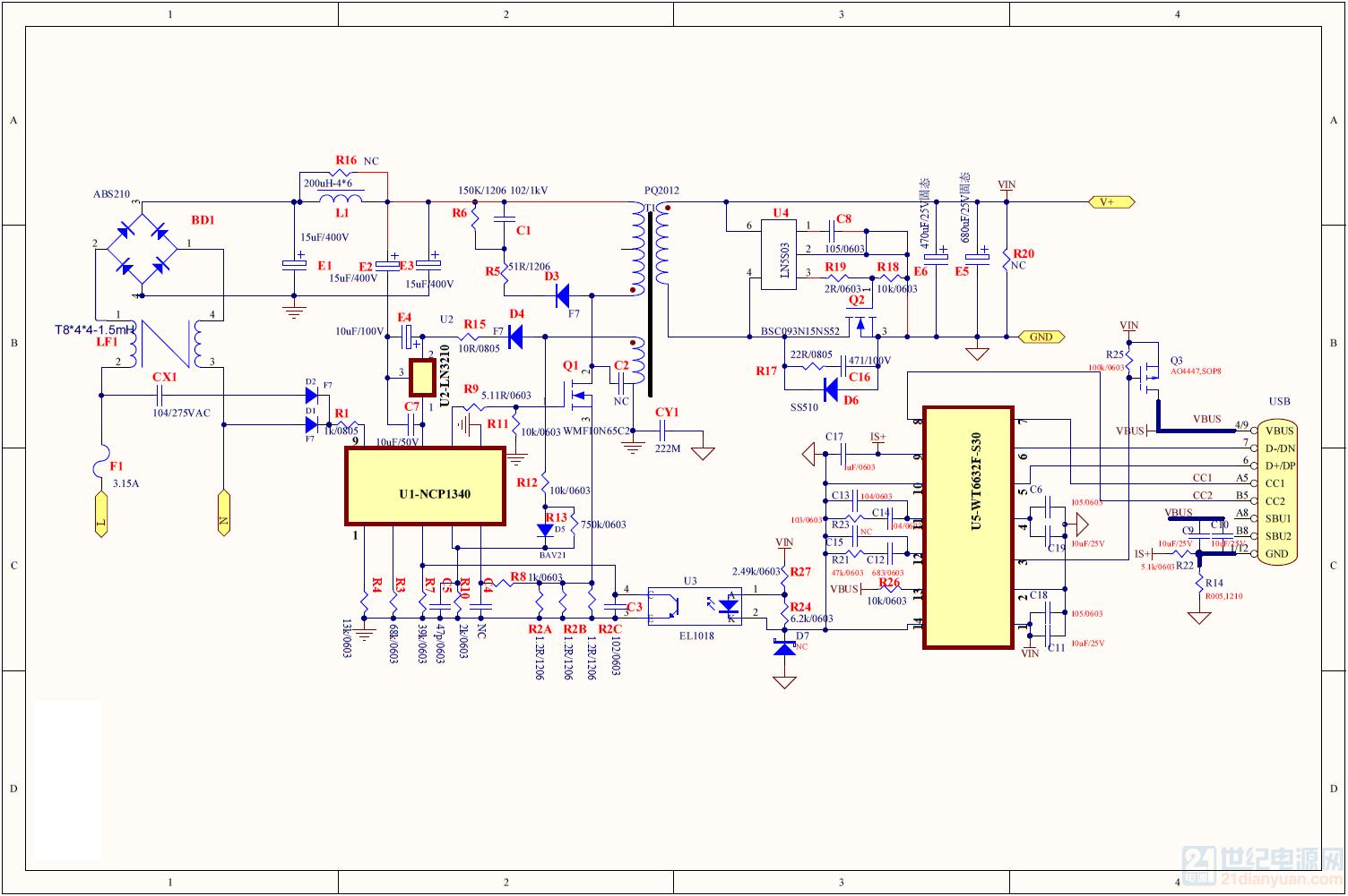 基于 WMF10N65C2 的充电器方案设计